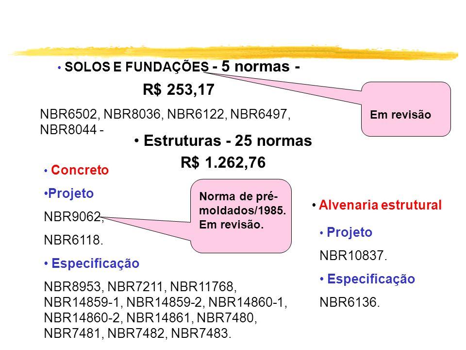Estruturas - 25 normas R$ 1.262,76 Concreto Projeto NBR9062, NBR6118. Especificação NBR8953, NBR7211, NBR11768, NBR14859-1, NBR14859-2, NBR14860-1, NB