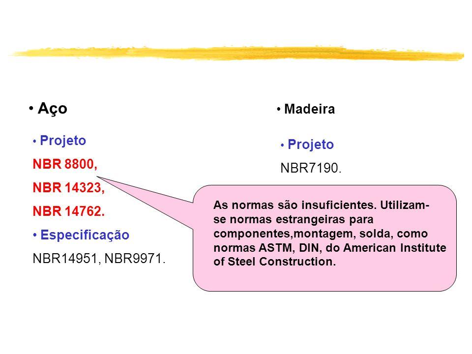 Aço Projeto NBR 8800, NBR 14323, NBR 14762. Especificação NBR14951, NBR9971. Madeira Projeto NBR7190. As normas são insuficientes. Utilizam- se normas