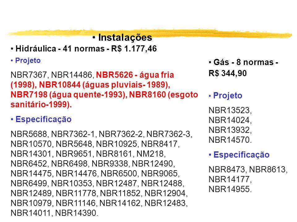 Instalações Projeto NBR7367, NBR14486, NBR5626 - água fria (1998), NBR10844 (águas pluviais- 1989), NBR7198 (água quente-1993), NBR8160 (esgoto sanitá