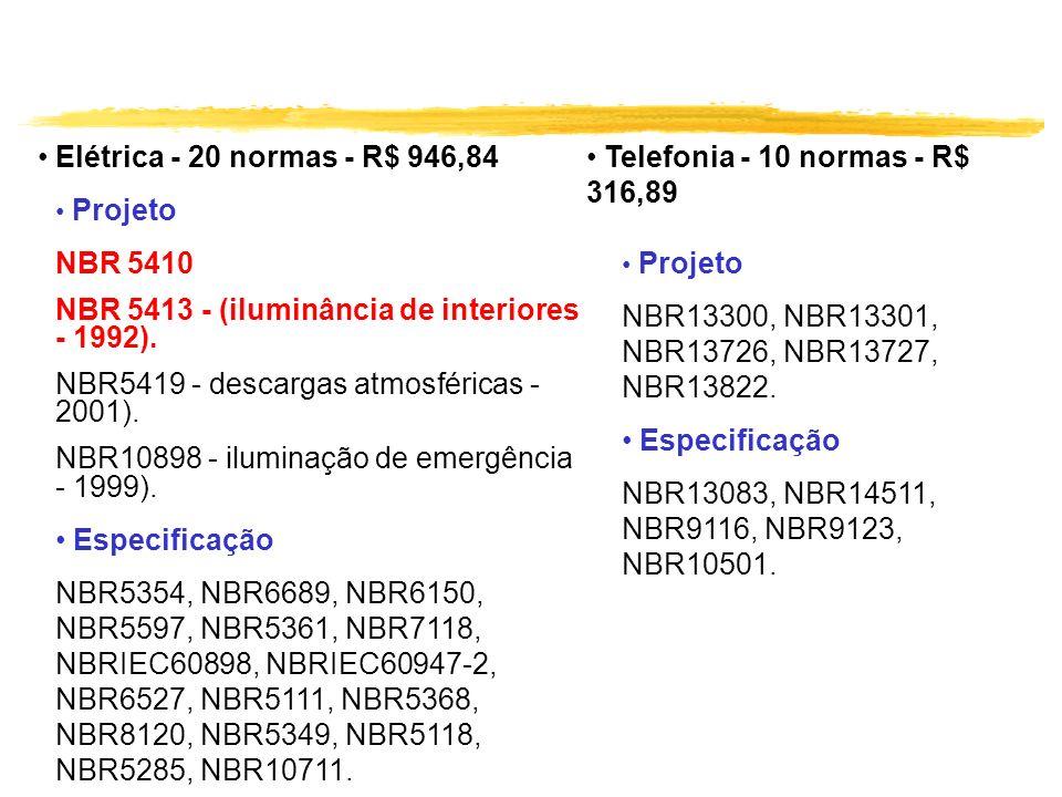Elétrica - 20 normas - R$ 946,84 Projeto NBR 5410 NBR 5413 - (iluminância de interiores - 1992). NBR5419 - descargas atmosféricas - 2001). NBR10898 -