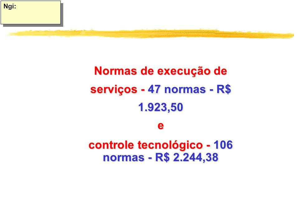 Ngi: Normas de execução de serviços - 47 normas - R$ 1.923,50e controle tecnológico - 106 normas - R$ 2.244,38