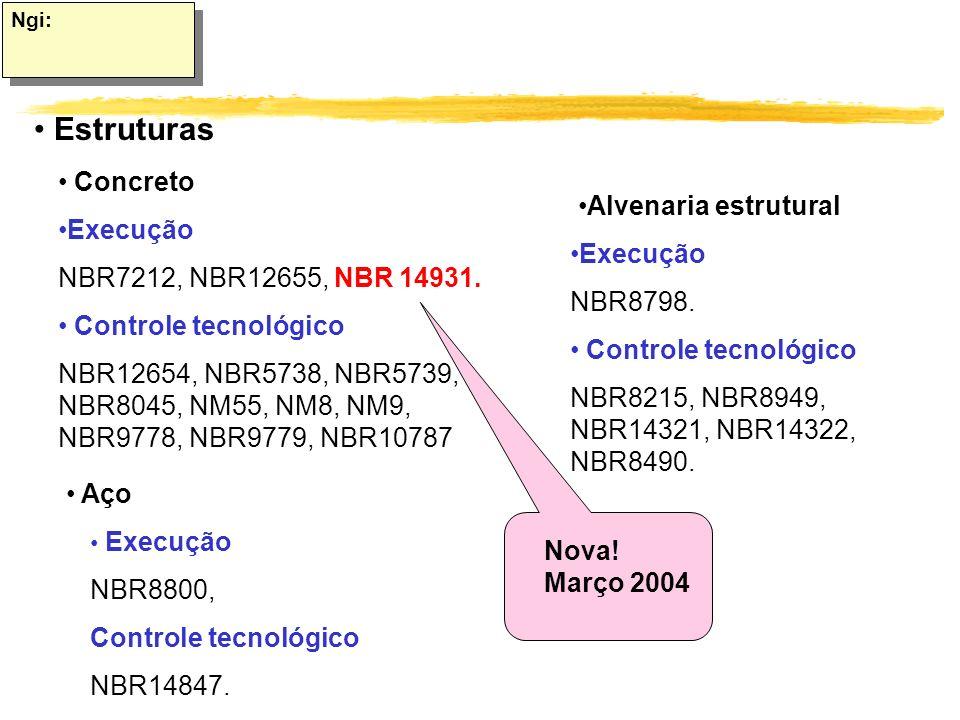 Ngi: Estruturas Concreto Execução NBR7212, NBR12655, NBR 14931. Controle tecnológico NBR12654, NBR5738, NBR5739, NBR8045, NM55, NM8, NM9, NBR9778, NBR