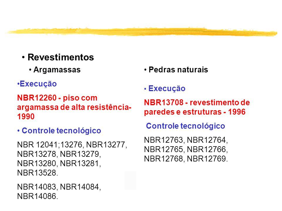Revestimentos Argamassas Execução NBR12260 - piso com argamassa de alta resistência- 1990 Controle tecnológico NBR 12041;13276, NBR13277, NBR13278, NB