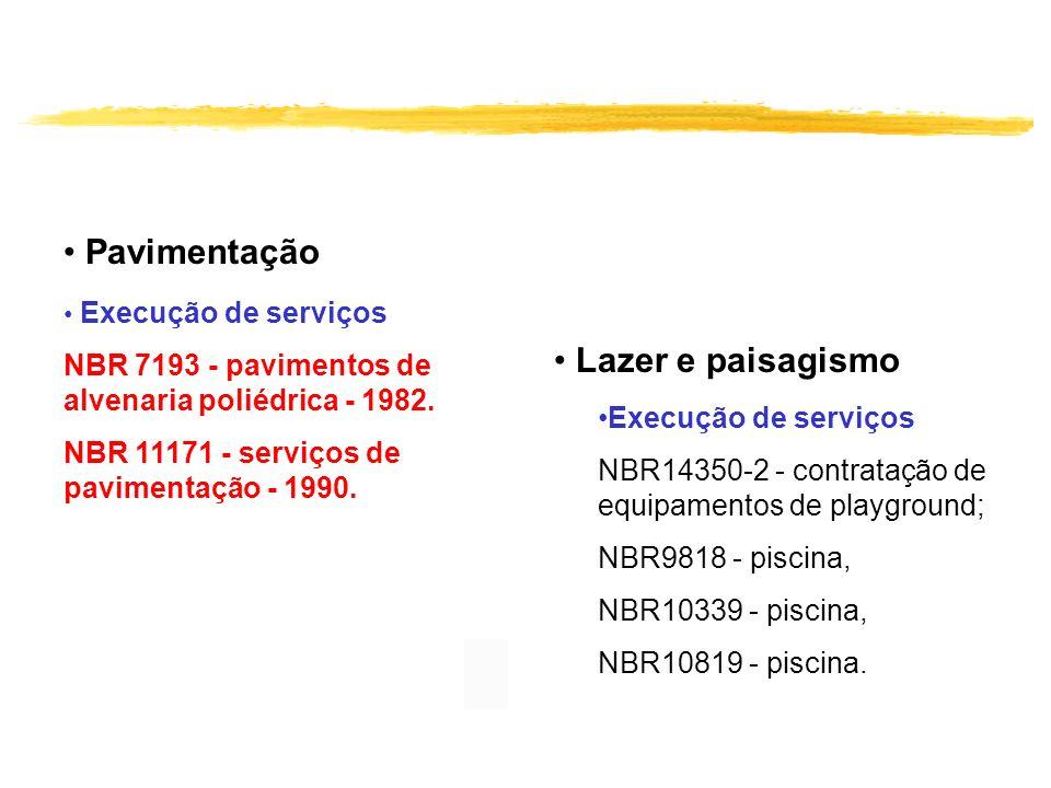 Pavimentação Execução de serviços NBR 7193 - pavimentos de alvenaria poliédrica - 1982. NBR 11171 - serviços de pavimentação - 1990. Lazer e paisagism