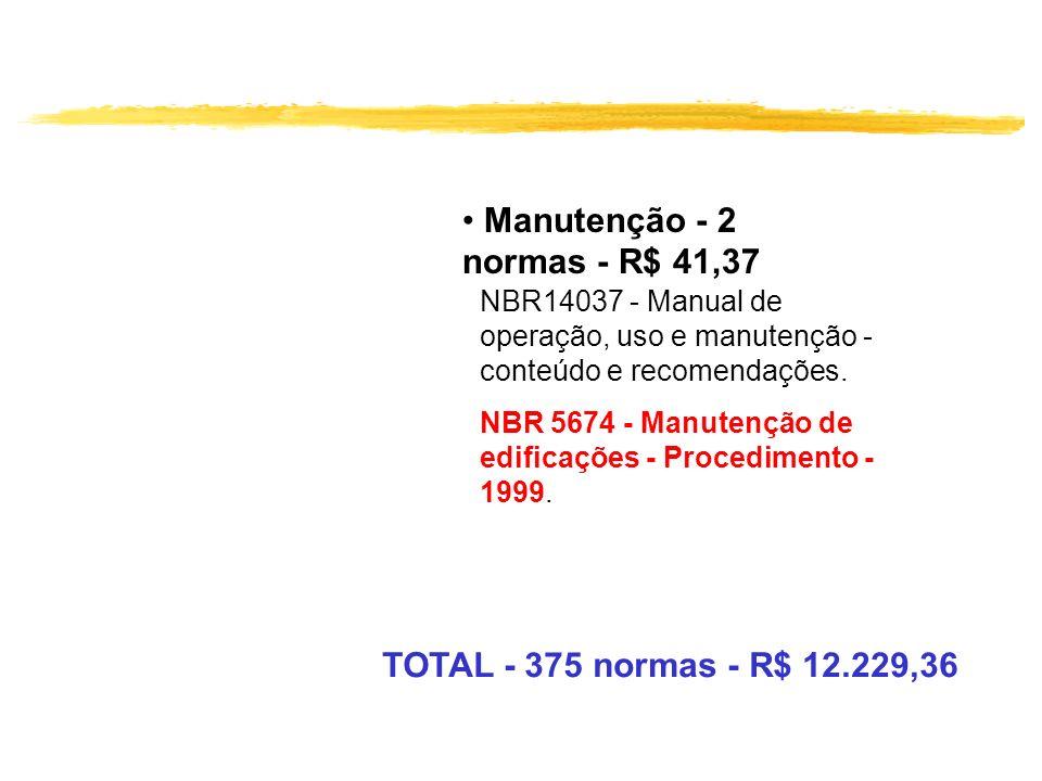 Manutenção - 2 normas - R$ 41,37 NBR14037 - Manual de operação, uso e manutenção - conteúdo e recomendações. NBR 5674 - Manutenção de edificações - Pr