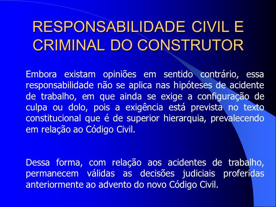 RESPONSABILIDADE CIVIL E CRIMINAL DO CONSTRUTOR Trata-se da responsabilidade objetiva em que o dever de indenizar surge do simples fato do exercício d