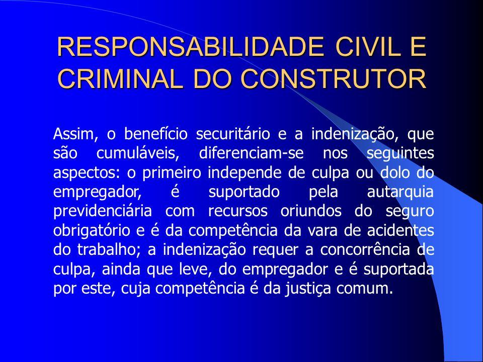 RESPONSABILIDADE CIVIL E CRIMINAL DO CONSTRUTOR Embora existam opiniões em sentido contrário, essa responsabilidade não se aplica nas hipóteses de aci