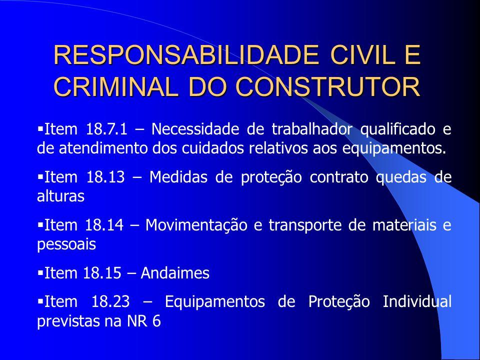 Por seu turno, a Norma Regulamentadora nº 18 trata das Condições e Meio Ambiente do Trabalho na Indústria da Construção e nela estão estabelecidas as