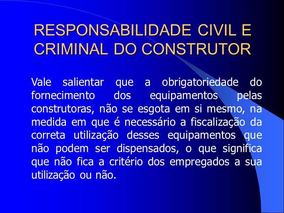 RESPONSABILIDADE CIVIL E CRIMINAL DO CONSTRUTOR Item 18.7.1 – Necessidade de trabalhador qualificado e de atendimento dos cuidados relativos aos equip