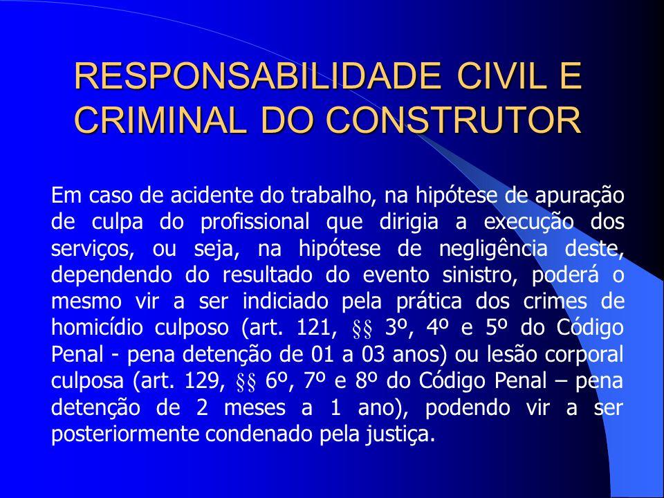 RESPONSABILIDADE CIVIL E CRIMINAL DO CONSTRUTOR A responsabilidade criminal, em tais hipóteses, recai sobre o profissional a quem incumbe supervisiona