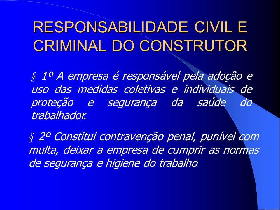 RESPONSABILIDADE CIVIL E CRIMINAL DO CONSTRUTOR § 1º A empresa é responsável pela adoção e uso das medidas coletivas e individuais de proteção e segurança da saúde do trabalhador.