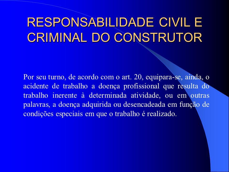 RESPONSABILIDADE CIVIL E CRIMINAL DO CONSTRUTOR § 1º A empresa é responsável pela adoção e uso das medidas coletivas e individuais de proteção e segur