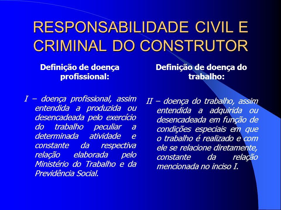 RESPONSABILIDADE CIVIL E CRIMINAL DO CONSTRUTOR O fundamento legal da responsabilização civil do empregador reside no art.