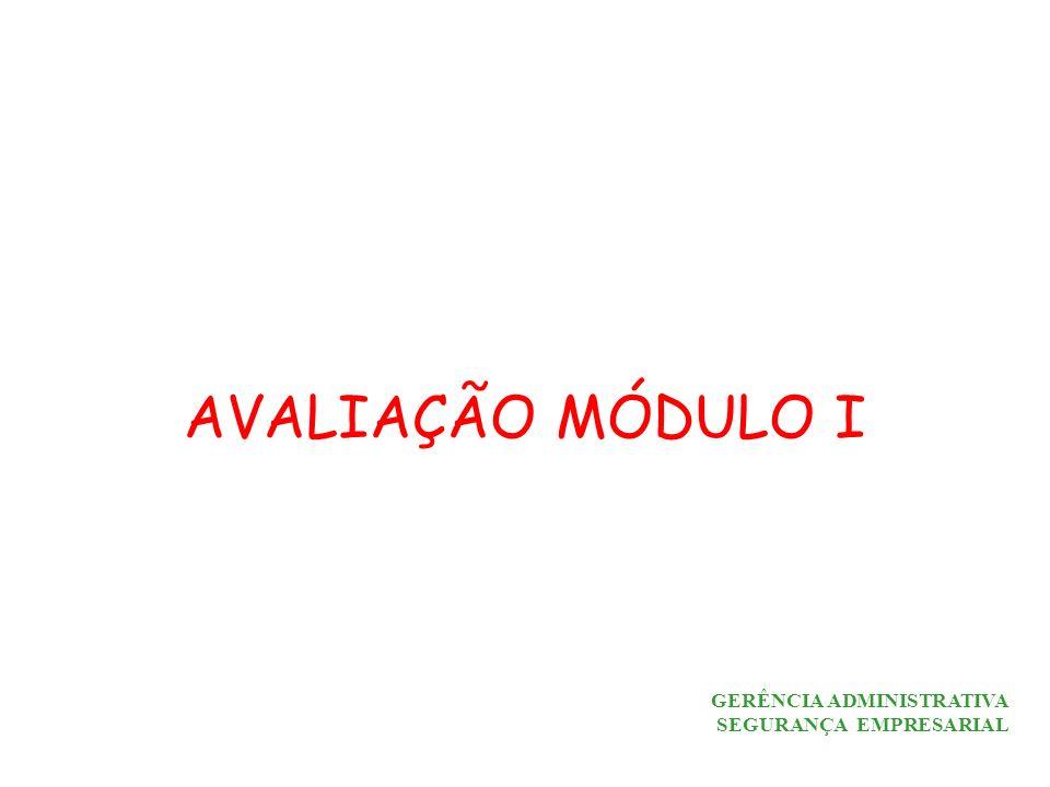 GERÊNCIA ADMINISTRATIVA SEGURANÇA EMPRESARIAL AVALIAÇÃO MÓDULO I