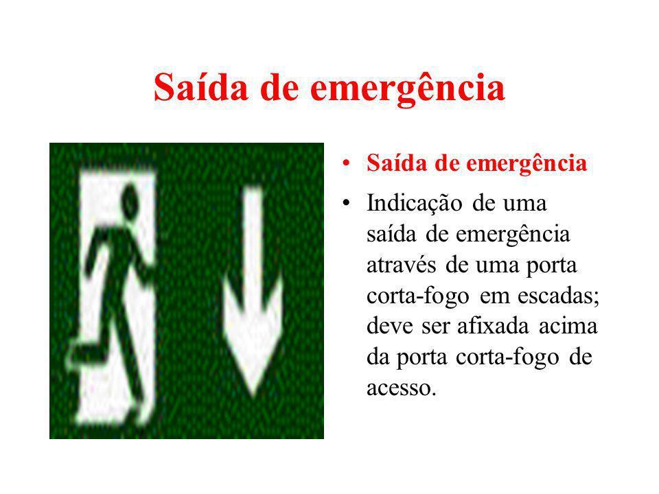Saída de emergência Indicação de uma saída de emergência através de uma porta corta-fogo em escadas; deve ser afixada acima da porta corta-fogo de ace