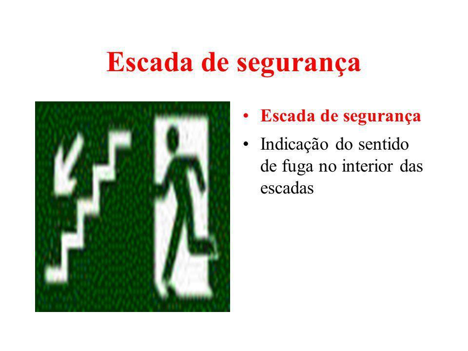 Escada de segurança Indicação do sentido de fuga no interior das escadas