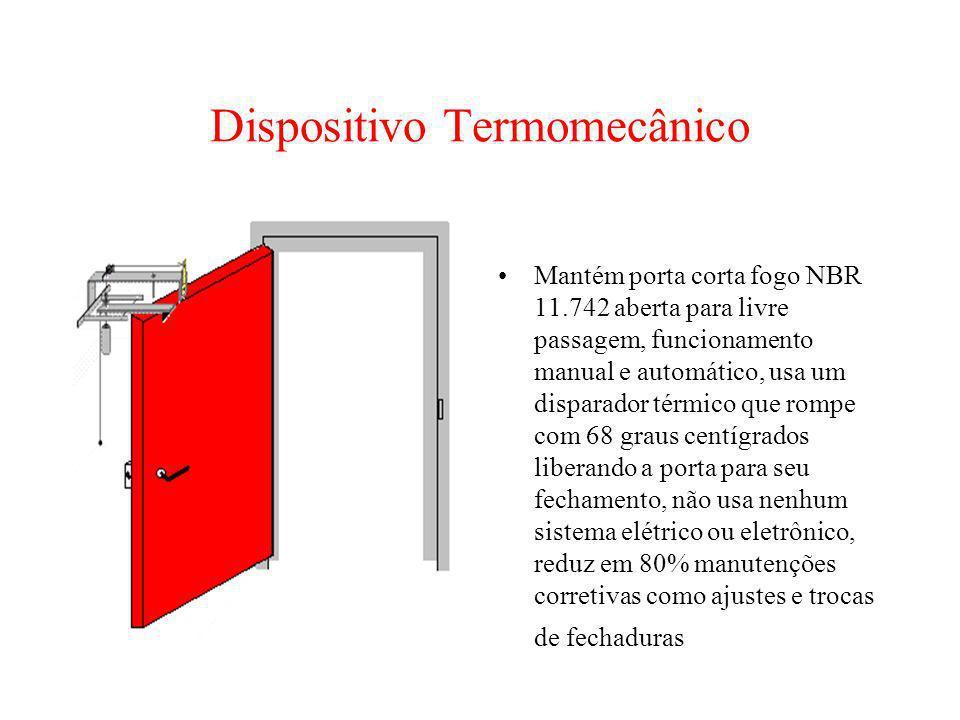 Dispositivo Termomecânico Mantém porta corta fogo NBR 11.742 aberta para livre passagem, funcionamento manual e automático, usa um disparador térmico