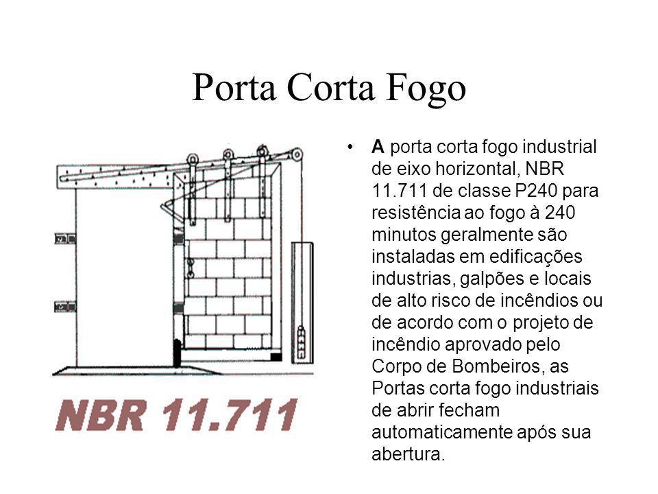 Porta Corta Fogo A porta corta fogo industrial de eixo horizontal, NBR 11.711 de classe P240 para resistência ao fogo à 240 minutos geralmente são ins