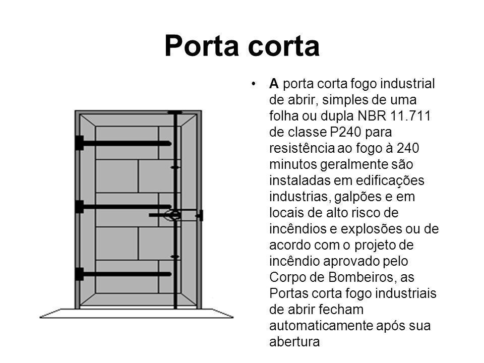 Porta corta A porta corta fogo industrial de abrir, simples de uma folha ou dupla NBR 11.711 de classe P240 para resistência ao fogo à 240 minutos ger