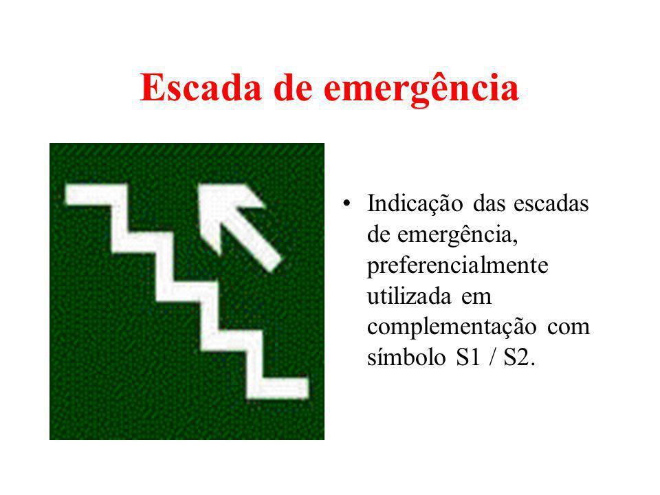 Saída de emergência Indicação da direção (esquerda ou direita) de uma rota de saída