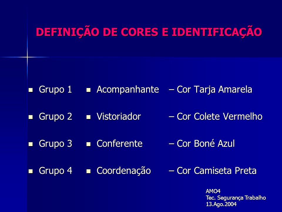 DEFINIÇÃO DE CORES E IDENTIFICAÇÃO Grupo 1 Grupo 1 Grupo 2 Grupo 2 Grupo 3 Grupo 3 Grupo 4 Grupo 4 Acompanhante – Cor Tarja Amarela Acompanhante – Cor