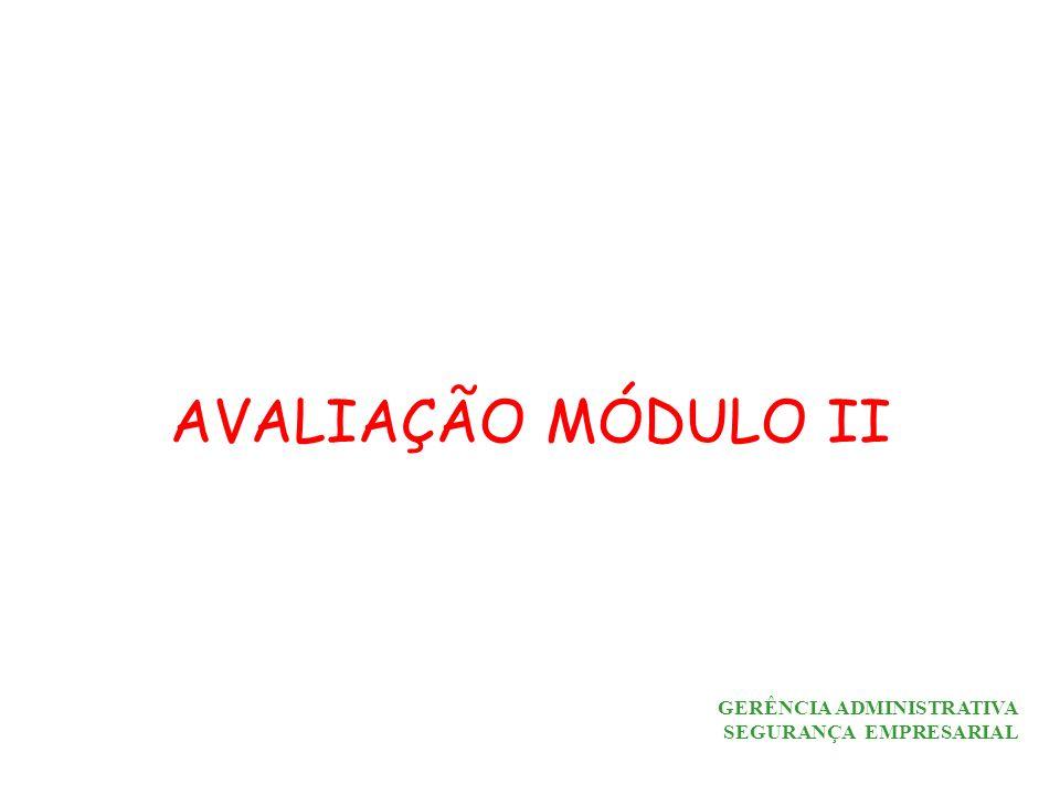 GERÊNCIA ADMINISTRATIVA SEGURANÇA EMPRESARIAL AVALIAÇÃO MÓDULO II