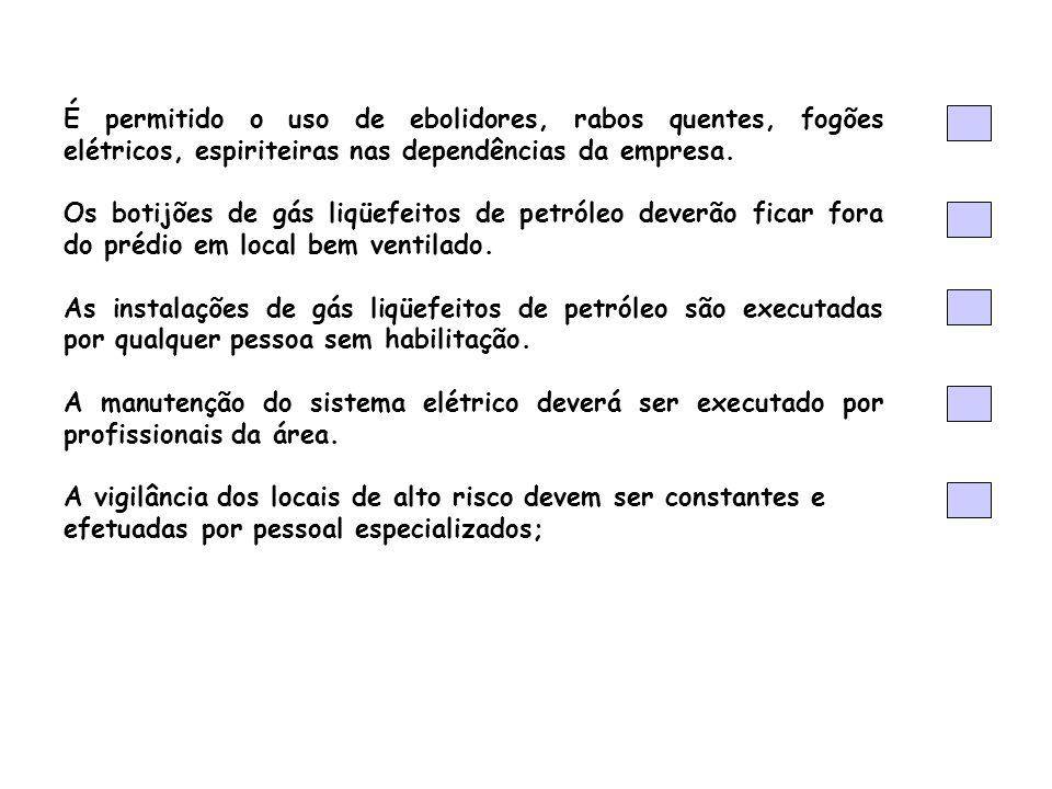 É permitido o uso de ebolidores, rabos quentes, fogões elétricos, espiriteiras nas dependências da empresa. Os botijões de gás liqüefeitos de petróleo