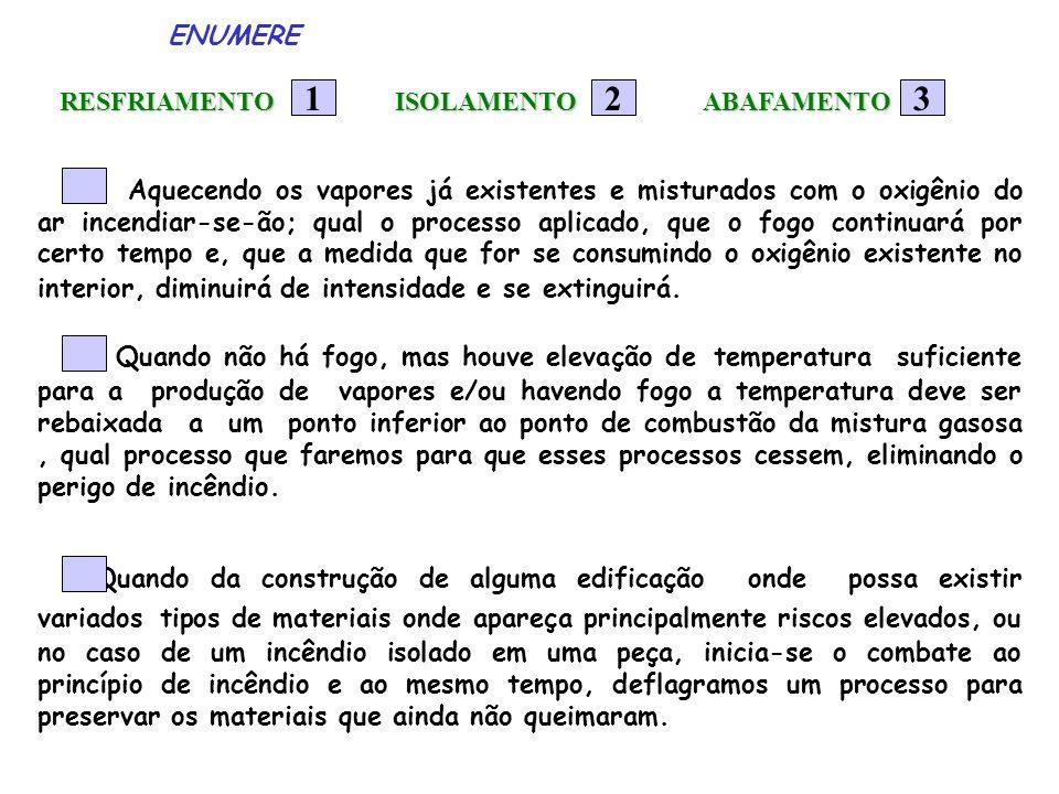 ENUMERE RESFRIAMENTO RESFRIAMENTO 12 Aquecendo os vapores já existentes e misturados com o oxigênio do ar incendiar-se-ão; qual o processo aplicado, q
