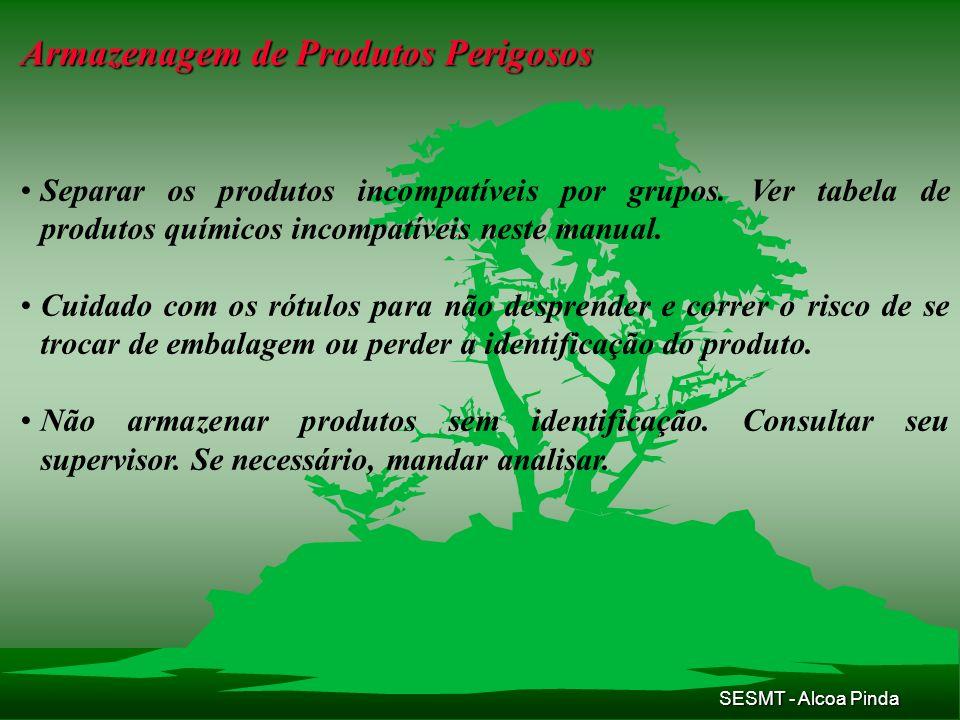 SESMT - Alcoa Pinda Armazenagem de Produtos Perigosos Separar os produtos incompatíveis por grupos. Ver tabela de produtos químicos incompatíveis nest