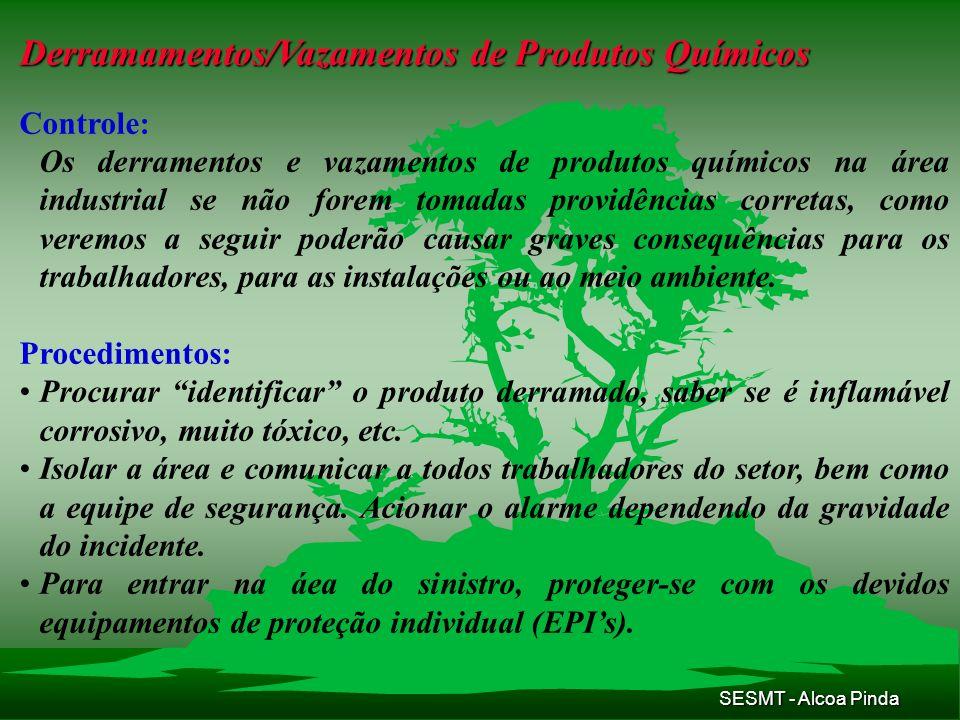 SESMT - Alcoa Pinda Derramamentos/Vazamentos de Produtos Químicos Controle: Os derramentos e vazamentos de produtos químicos na área industrial se não