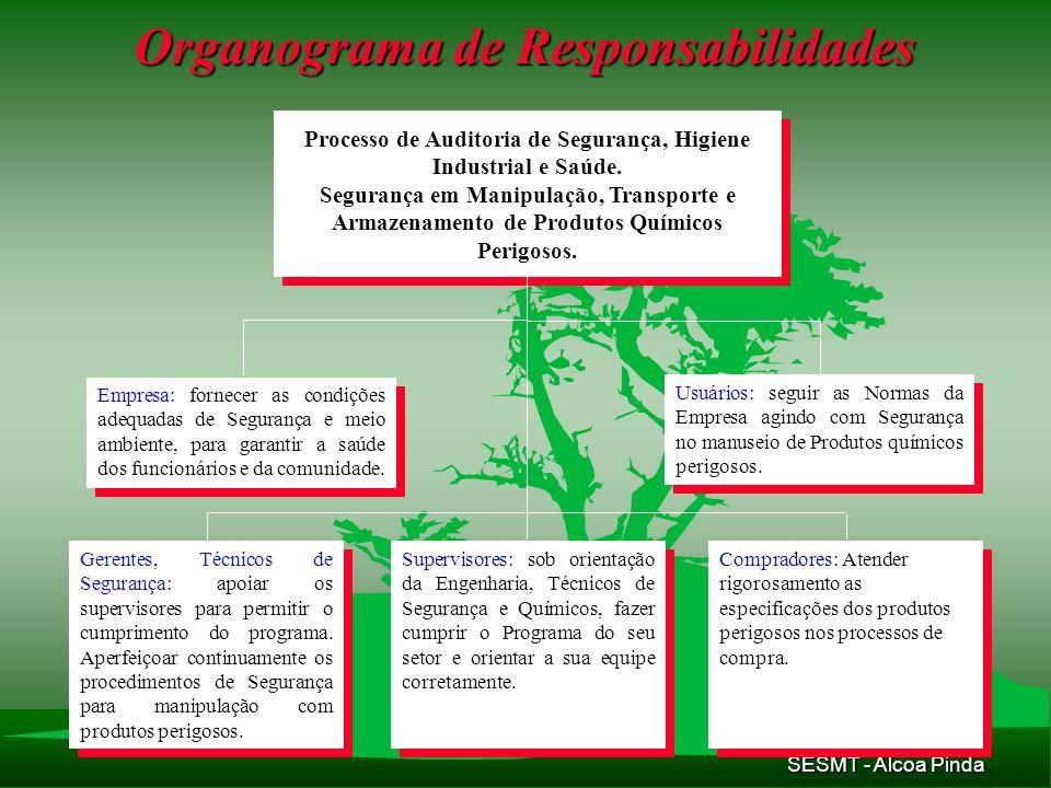 SESMT - Alcoa Pinda Organograma de Responsabilidades Processo de Auditoria de Segurança, Higiene Industrial e Saúde. Segurança em Manipulação, Transpo