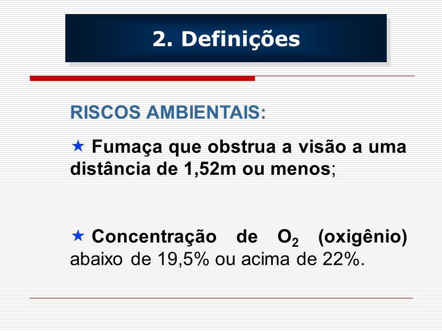 RISCOS AMBIENTAIS: Fumaça que obstrua a visão a uma distância de 1,52m ou menos; Concentração de O 2 (oxigênio) abaixo de 19,5% ou acima de 22%. 2. De