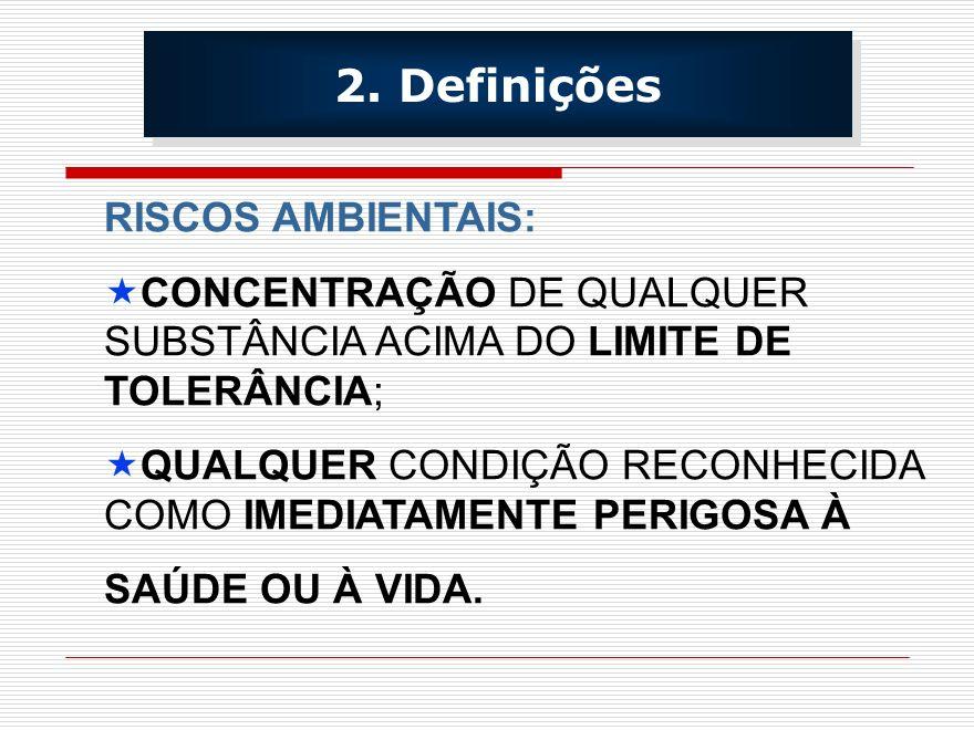 RISCOS AMBIENTAIS: CONCENTRAÇÃO DE QUALQUER SUBSTÂNCIA ACIMA DO LIMITE DE TOLERÂNCIA; QUALQUER CONDIÇÃO RECONHECIDA COMO IMEDIATAMENTE PERIGOSA À SAÚD