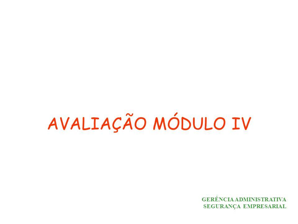 GERÊNCIA ADMINISTRATIVA SEGURANÇA EMPRESARIAL AVALIAÇÃO MÓDULO IV