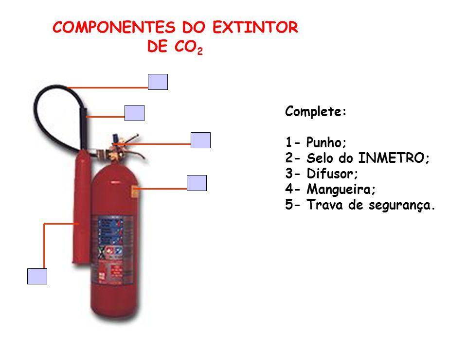 COMPONENTES DO EXTINTOR DE CO 2 Complete: 1- Punho; 2- Selo do INMETRO; 3- Difusor; 4- Mangueira; 5- Trava de segurança.