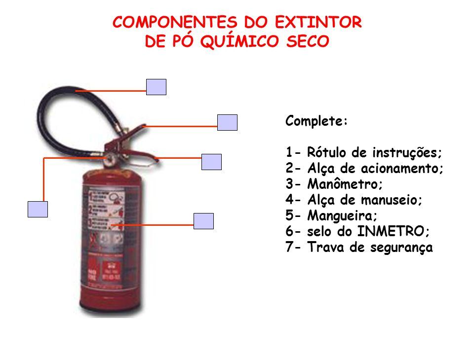 COMPONENTES DO EXTINTOR DE PÓ QUÍMICO SECO Complete: 1- Rótulo de instruções; 2- Alça de acionamento; 3- Manômetro; 4- Alça de manuseio; 5- Mangueira;