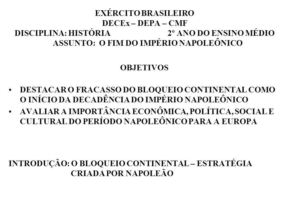 EXÉRCITO BRASILEIRO DECEx – DEPA – CMF DISCIPLINA: HISTÓRIA 2º ANO DO ENSINO MÉDIO ASSUNTO: O FIM DO IMPÉRIO NAPOLEÔNICO OBJETIVOS DESTACAR O FRACASSO