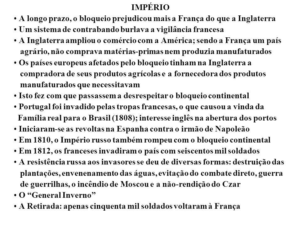 IMPÉRIO A longo prazo, o bloqueio prejudicou mais a França do que a Inglaterra Um sistema de contrabando burlava a vigilância francesa A Inglaterra am