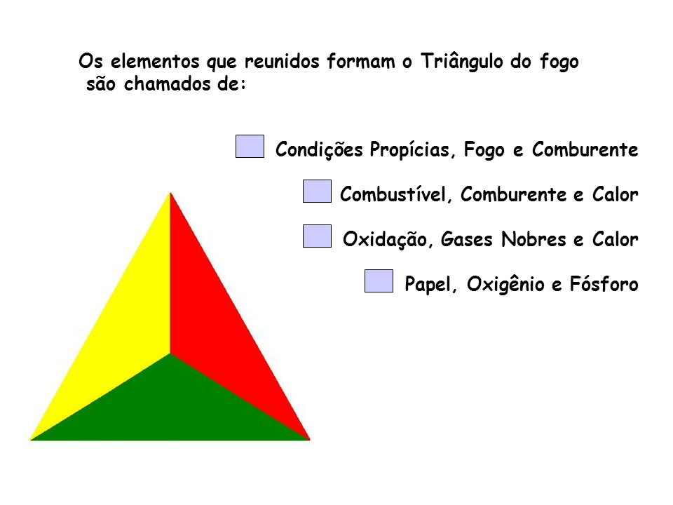 Os elementos que reunidos formam o Triângulo do fogo são chamados de: Condições Propícias, Fogo e Comburente Combustível, Comburente e Calor Oxidação,