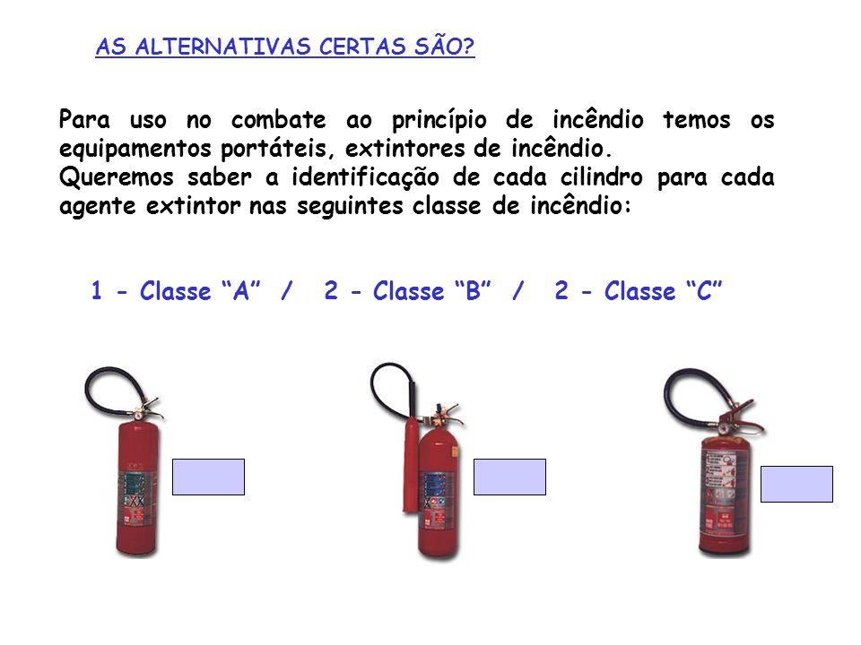 AS ALTERNATIVAS CERTAS SÃO? Para uso no combate ao princípio de incêndio temos os equipamentos portáteis, extintores de incêndio. Queremos saber a ide