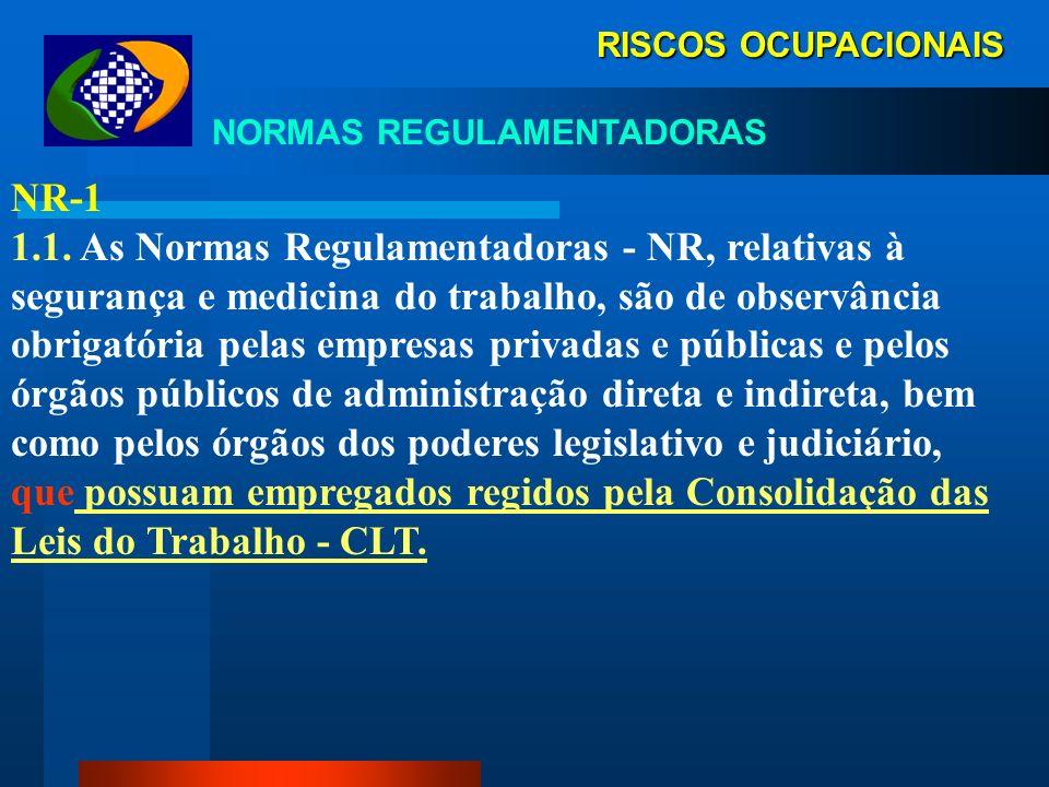 RISCOS OCUPACIONAIS NORMAS REGULAMENTADORAS FISCALIZAÇÃO Art. 200 CLT- Cabe ao Ministério do Trabalho estabelecer disposições complementares às normas
