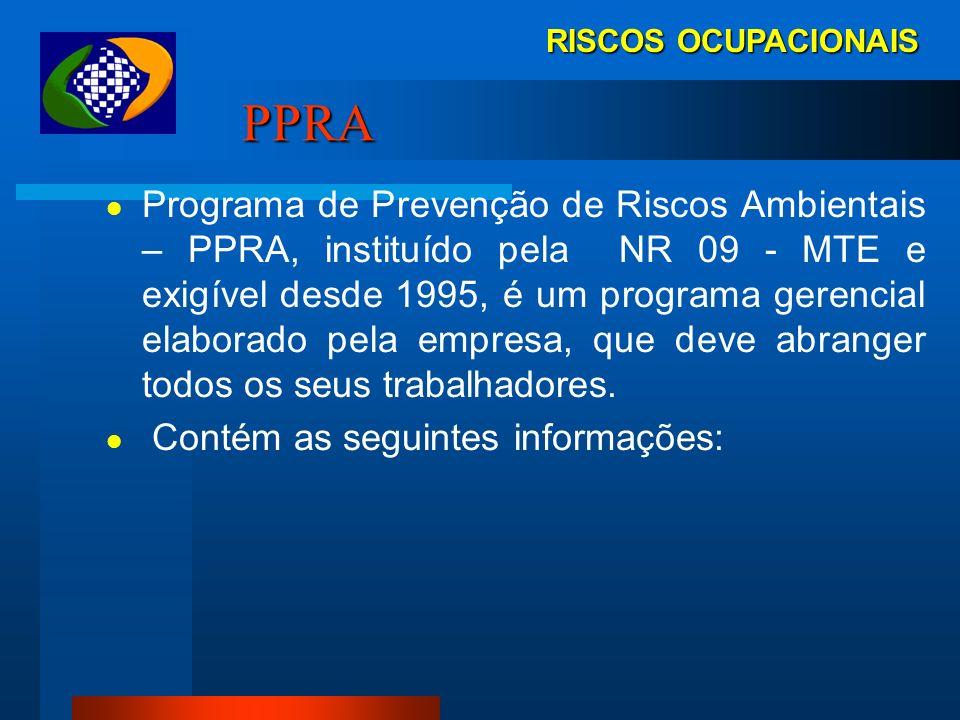 EM RISCOS OCUPACIONAIS Demonstrações Ambientais Elenco das Demonstrações Ambientais PPRA Programa de Prevenção de Riscos Ambientais PGRPrograma de Ger