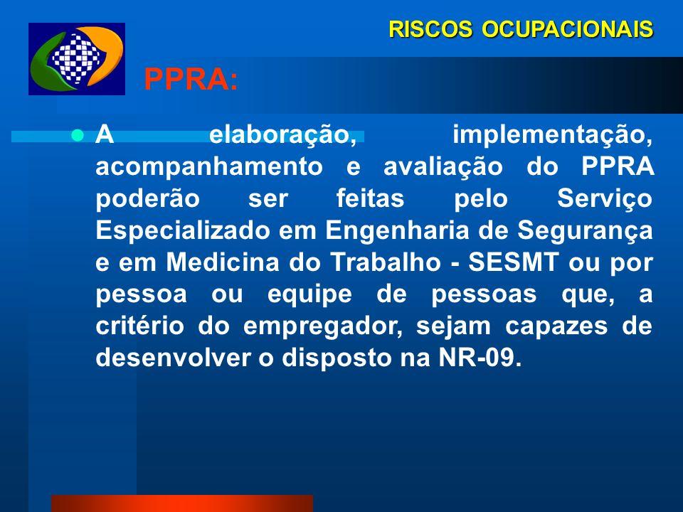 RISCOS OCUPACIONAIS PPRA: - antecipação e reconhecimento dos riscos; - cronograma de melhorias com prioridades e metas; - avaliação dos riscos; - medi