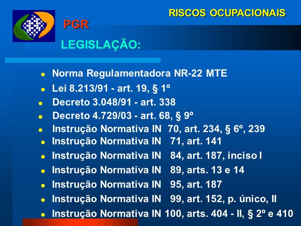 RISCOS OCUPACIONAIS PGR: Programa de Gerenciamento de Riscos - PGR, instituído pela NR 22 MTE, e exigível desde 2000, é um programa gerencial que engl