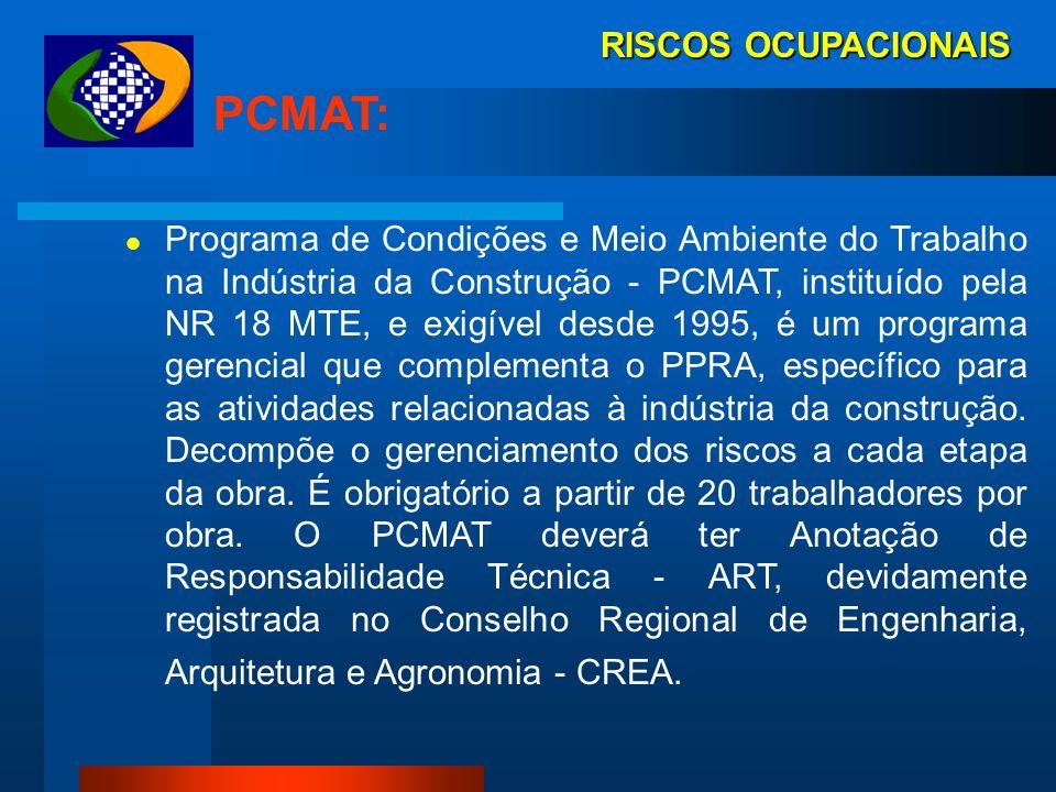 RISCOS OCUPACIONAIS PGR LEGISLAÇÃO: Norma Regulamentadora NR-22 MTE Lei 8.213/91 - art. 19, § 1º Decreto 3.048/91 - art. 338 Decreto 4.729/03 - art. 6