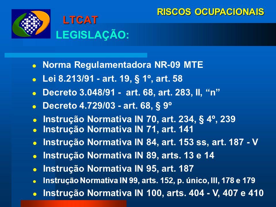 RISCOS OCUPACIONAIS LTCAT Demonstra Resultados do PPRA, PGR e PCMAT Reconhece Agentes Nocivos (Natureza, Intensidade e Concentração) Identifica Condiç