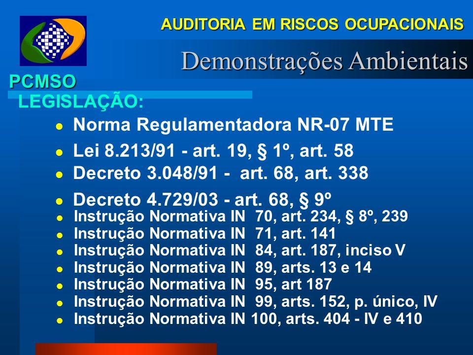 RISCOS OCUPACIONAIS PCMSO Programa de Controle Médico de Saúde Ocupacional - PCMSO, instituído pela NR 07 - MTE, e exigível desde 1995, é um programa