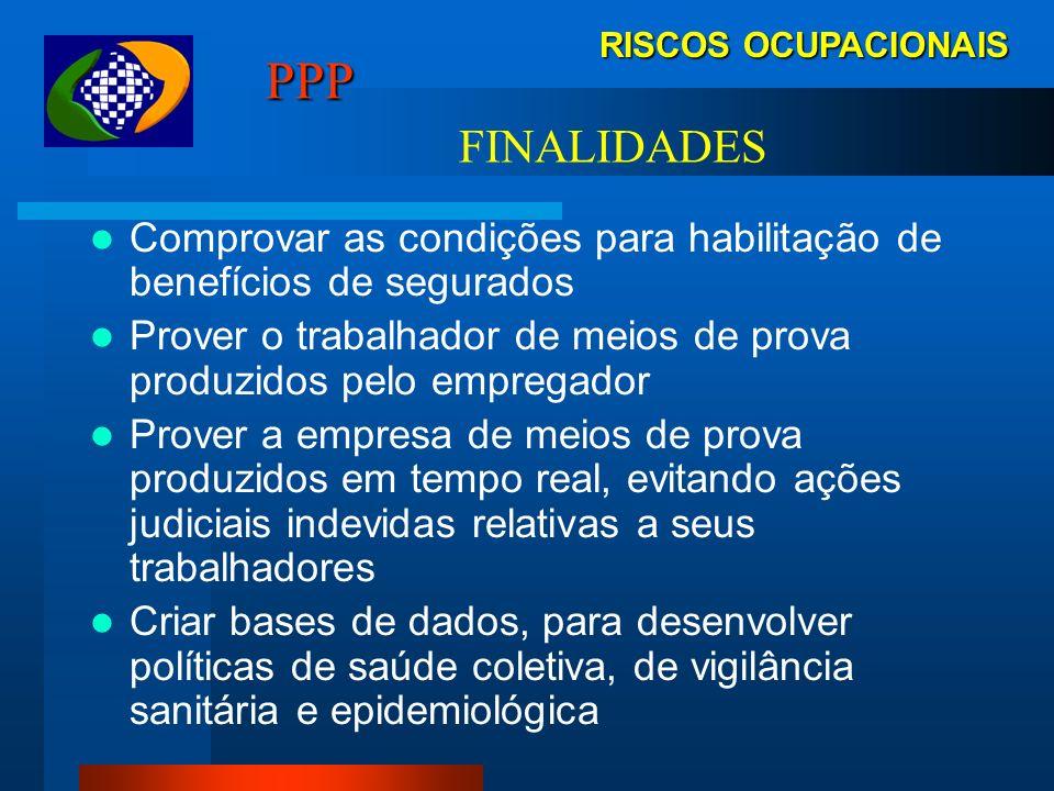 RISCOS OCUPACIONAIS PPP: Documento histórico-laboral do trabalhador Declaração de dados administrativos, registros ambientais e resultados de monitora