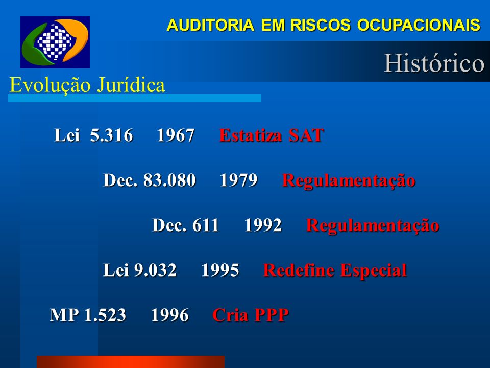 AUDITORIA EM RISCOS OCUPACIONAIS Histórico Evolução Jurídica Lei 5.316 1967 Estatiza SAT Lei 5.316 1967 Estatiza SAT Dec.