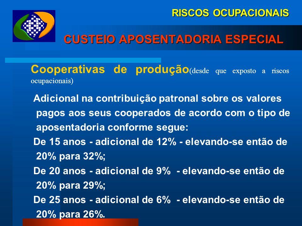RISCOS OCUPACIONAIS CUSTEIO APOSENTADORIA ESPECIAL Cooperativas de trabalho (desde que exposto a riscos ocupacionais) contribuição sobre o valor bruto